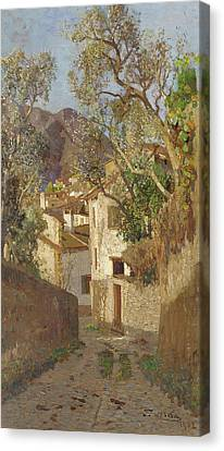Blau Canvas Print - A Shaded Village Road, 1902 by Tina Blau-Lang