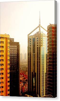 Modern Architecture Canvas Print - A Shanghai Sunset by Christine Till