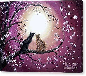 Cherry Blossoms Canvas Print - A Shared Moment by Laura Iverson