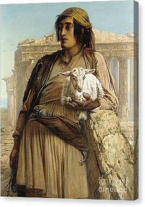 A Shepherd Boy Standing Before The Parthenon Canvas Print