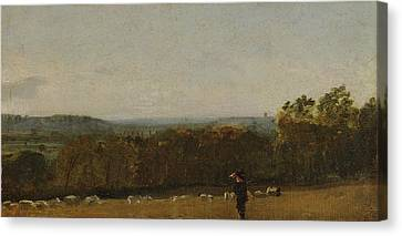 A Shepherd In A Landscape Looking Across Dedham Canvas Print by MotionAge Designs