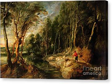 A Shepherd With His Flock In A Woody Landscape Canvas Print by Rubens