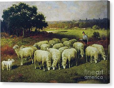 Lambing Canvas Print - A Shepherd With His Sheep Out In The Field, 1898 by Charles T Phelan