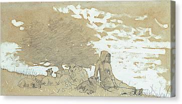 A Shepherdess Canvas Print by Winslow Homer