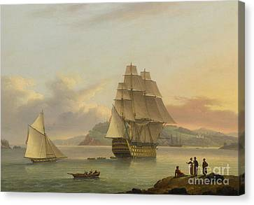 A Ship Of The Line Off Plymouth, 1817 Canvas Print by Thomas Luny