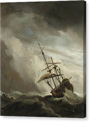 A Ship On The High Seas Caught By A Squall Canvas Print by Willem van de Velde the Younger