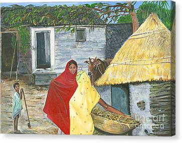 A Shy Woman Canvas Print