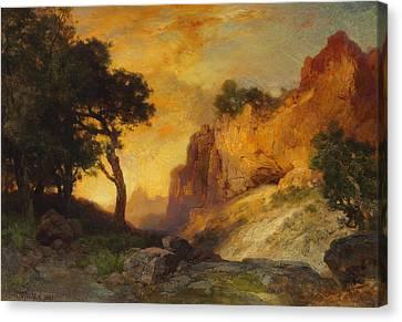 A Side Canyon Canvas Print by Thomas Moran