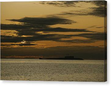 A Silhouetted Russian Submarine Canvas Print by James P. Blair
