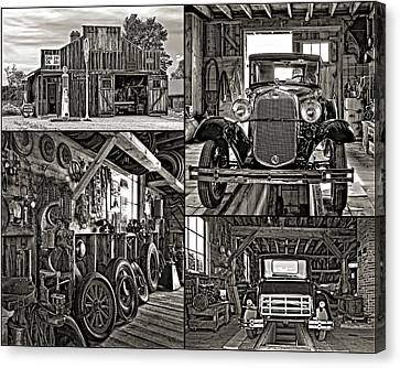 Pioneer Museum Canvas Print - A Simpler Time - Collage Bw by Steve Harrington