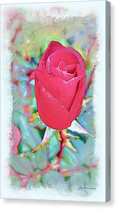 Canvas Print featuring the photograph A Single Rose In October by Joan  Minchak