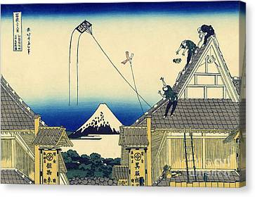 Kite Canvas Print - A Sketch Of The Mitsui Shop In Suruga Street In Edo by Hokusai