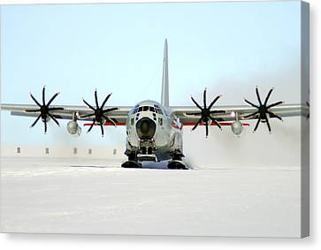 A Ski-equipped Lc-130 Hercules Canvas Print by Stocktrek Images