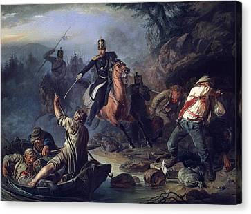 A Skirmish With Smugglers Canvas Print by Vasily Grigorievich Khudyakov