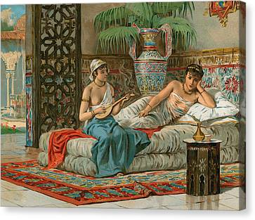 A Slave In The Harem Canvas Print by Dionisio Baixeras-Verdaguer