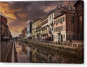 Burnt Umber Canvas Print - A Sleepy Sunday At Naviglio Grande by Carol Japp