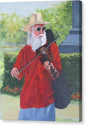 A Slim Fiddler For Peace Canvas Print