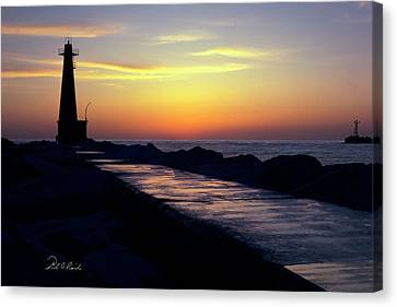 A Sliver Of Sunset Canvas Print by Frederic A Reinecke