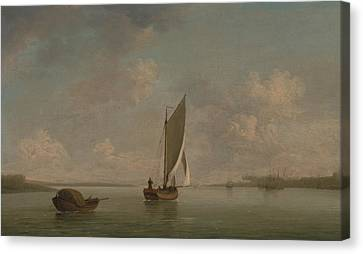 A Smack Under Sail In A Light Breeze In A River Canvas Print by Charles Brooking