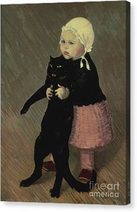 A Small Girl With A Cat Canvas Print by TA Steinlen