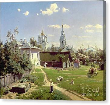 A Small Yard In Moscow Canvas Print by Vasilij Dmitrievich Polenov