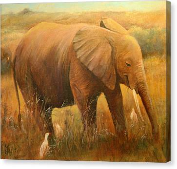 A Smiling Baby Canvas Print by Sally Seago