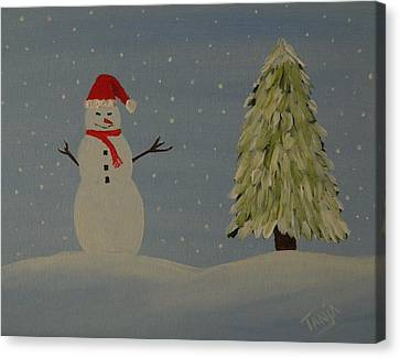 A Snowman's Christmas Canvas Print