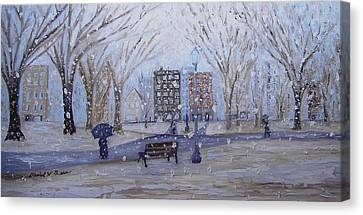 A Snowy Afternoon In The Park Canvas Print by Daniel W Green