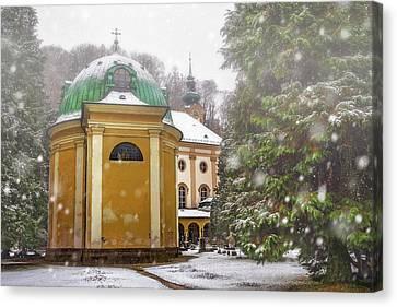 A Snowy Day In Salzburg Austria  Canvas Print by Carol Japp