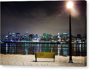 A Snowy Night In Montreal  Canvas Print by Jane Rix
