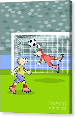 Player Canvas Print - A Soccer Player Hits The Ball With The Head Managing To Elude The Goalkeeper And Score A Goal by Daniel Ghioldi