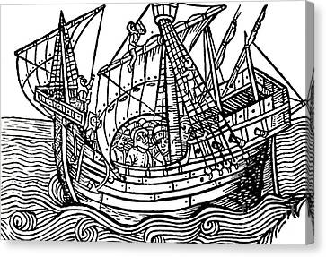 Water Vessels Canvas Print - A Spanish Ship by Spanish School