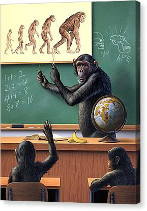 Chimpanzee Canvas Print - A Specious Origin by Jerry LoFaro