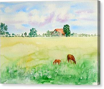 A Spring Graze Canvas Print by Sharon Mick