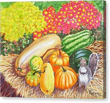 A Squirrel And Pumpkins.2007 Canvas Print by Natalia Piacheva