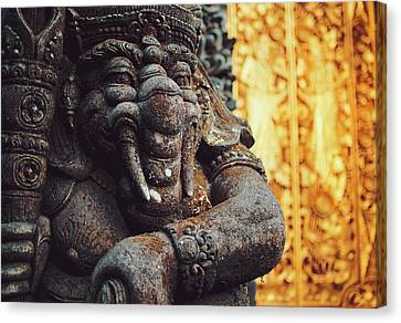 A Statue Of A Intricately Designed Holy Hindu Elephant Ganesha In A Sacred Temple In Bali, Indonesia Canvas Print