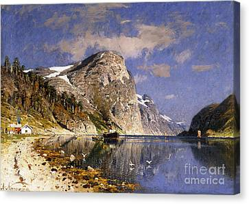 A Steamer In The Sognefjord Canvas Print