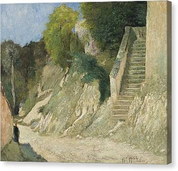 A Steep Ascent In Montigny-sur-loing Canvas Print by Carl Fredrik Hill