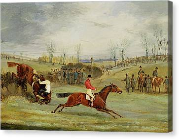 A Steeplechase - Another Hedge Canvas Print by Henry Thomas Alken