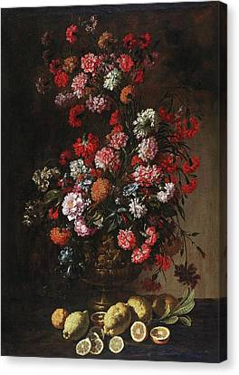 A Still Life Of Citrus Fruit And Flowers In An Elaborately Decorated And Gilded Vase, Canvas Print