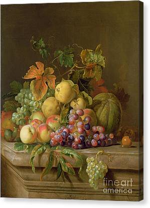 A Still Life Of Melons Grapes And Peaches On A Ledge Canvas Print