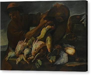 A Still Life Of Salt Water Fish With A Fisherman Canvas Print