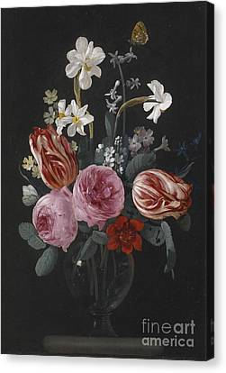 A Still Life Of Tulips, Roses, Daffodils And Other Flowers, With Butterflies, Canvas Print by Celestial Images