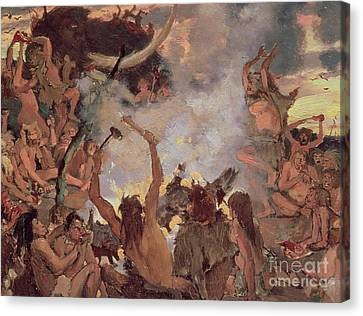 A Stone Age Feast Canvas Print