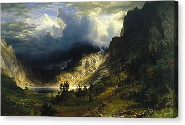 A Storm In The Rocky Mountains Mt. Rosalie, 1866 Canvas Print by Albert Bierstadt