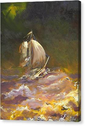A Stormy Night At Sea Canvas Print by Dan Whittemore
