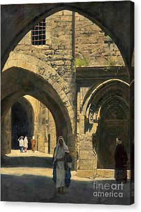 Collier Canvas Print - A Street In Jerusalem by MotionAge Designs