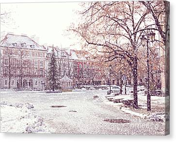 Canvas Print featuring the photograph A Street In Warsaw, Poland On A Snowy Day by Juli Scalzi