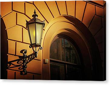 Shadows And Light Canvas Print - A Street Lamp In Lisbon Portugal  by Carol Japp