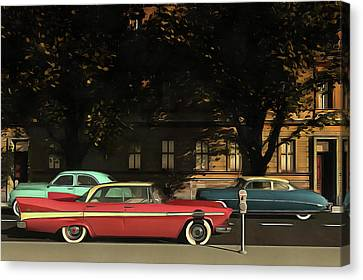 A Street With Oldtimers Canvas Print